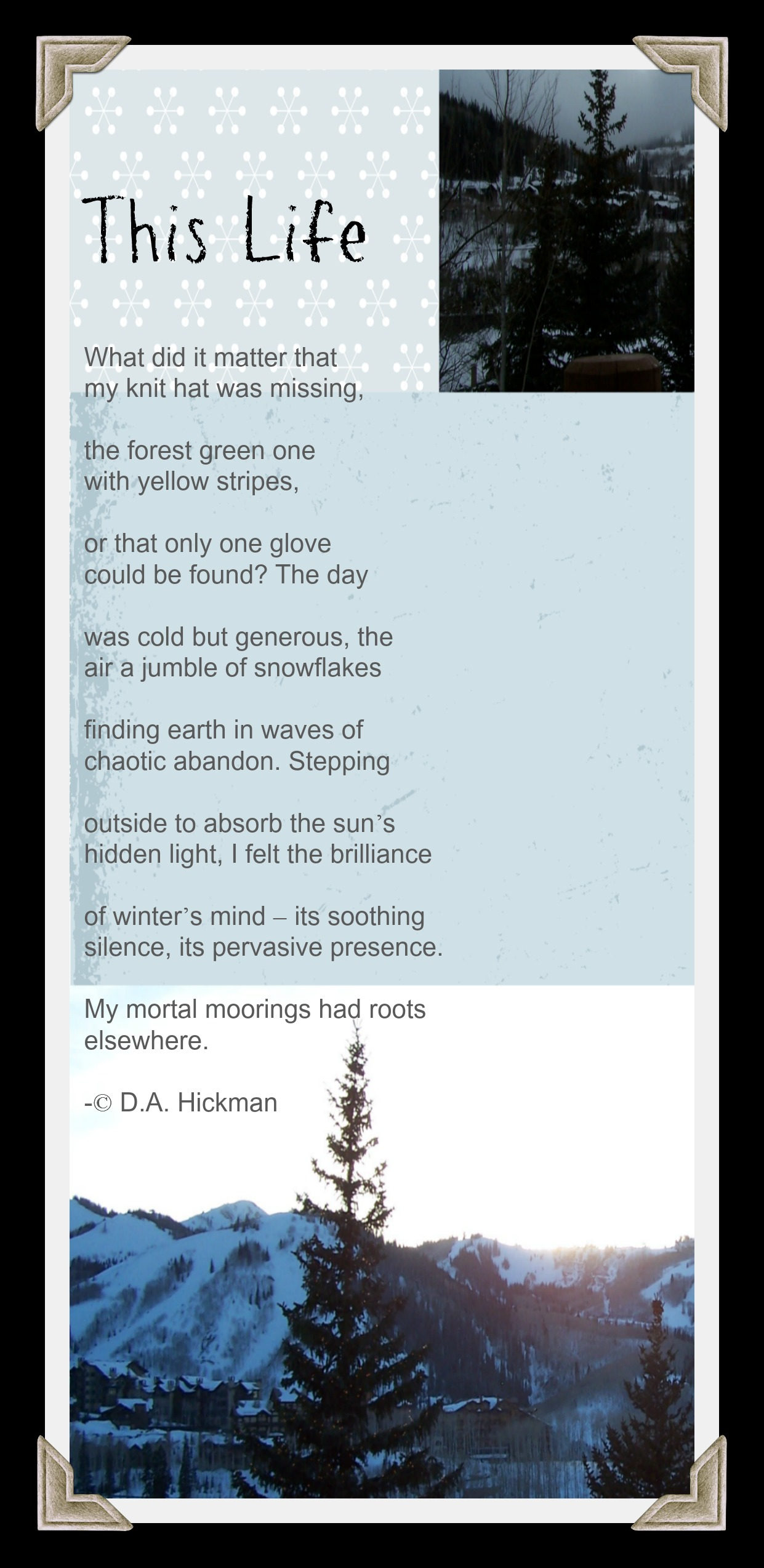 This Life Poem by D A Hickman
